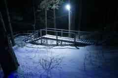 Scala nel legno di inverno alla notte Fotografie Stock Libere da Diritti