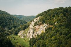 Scala in Ojcov National Park. In Poland, forests, trees, blue sky royalty free stock photos