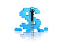 Scala rampicante dell'uomo d'affari che completa la pila b di forma del simbolo di dollaro Immagine Stock Libera da Diritti
