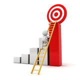 scala rampicante dell'uomo 3D all'obiettivo rosso di scopo sopra il riuscito grafico Fotografie Stock Libere da Diritti