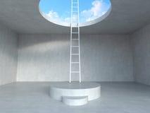 Scala sul podio fino al cielo con il fondo concreto della stanza illustrazione della rappresentazione 3d Immagini Stock
