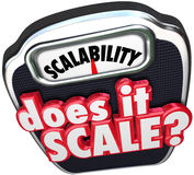 Scalability Does It Scale 3d Words Increase Size Scope Business. Scalability 3d word and Does It Scale question asking if your business model can increase and Royalty Free Stock Photography