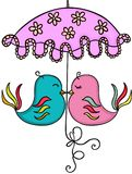 Couple birds with umbrella Royalty Free Stock Images