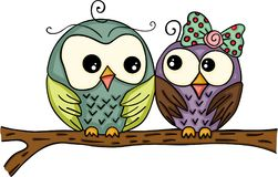 Couple owls on branch Royalty Free Stock Images