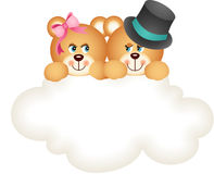 Couple teddy bears on the cloud Stock Image