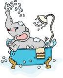 Cute elephant taking a bath Stock Images