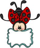 Cute ladybug with blank label sticker. Scalable vectorial image representing a cute ladybug with blank label sticker, isolated on white Royalty Free Stock Photography