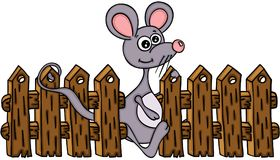 Cute mouse with wooden fence. Scalable vectorial image representing a cute mouse with wooden fence, isolated on white Stock Photography