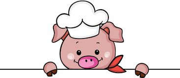 Cute pig chef cook peeking Stock Images
