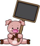 Cute pig holding chalkboard Stock Photography