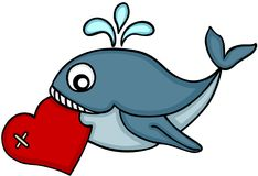 Cute whale carrying heart Stock Photos