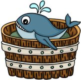 Cute whale in wooden tub. Scalable vectorial image representing a cute whale in wooden tub, isolated on white royalty free illustration