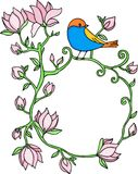 Flower frame with blue bird Stock Photography