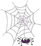 Halloween spider with web. Scalable vectorial image representing a Halloween spider with web, isolated on white Royalty Free Stock Image