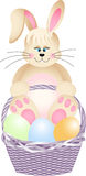 Happy bunny in basket with easter eggs Royalty Free Stock Photos