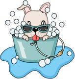 Happy dog  taking a bubble bath Royalty Free Stock Photography