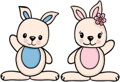 Little boy and girl bunny. Scalable vectorial image representing a little boy and girl bunny,  on white Royalty Free Stock Photos
