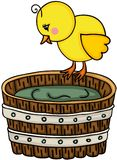 Little chick with wooden tub. Scalable vectorial image representing a little chick with wooden tub, isolated on white royalty free illustration