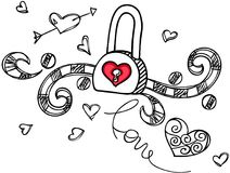 Love padlock design outline. Scalable vectorial image representing a love padlock design outline, isolated on white Stock Photos