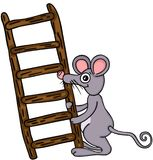 Mouse carrying wooden ladder Stock Photos
