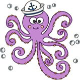 Octopus with sailor hat. Scalable vectorial image representing a octopus with sailor hat, isolated on white Stock Image