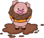 Pig inside chocolate donut on mud. Scalable vectorial image representing a pig inside chocolate donut on mud, isolated on white Royalty Free Stock Image