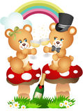 Teddy bear couple toasting with champagne Stock Image