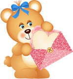 Teddy bear with envelope and heart Stock Photo