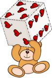 Teddy bear holding dice with hearts royalty free illustration