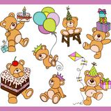 Birthday teddy bear set digital elements Stock Photo
