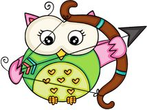 Cupid love owl girl Royalty Free Stock Images