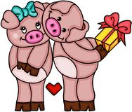 Cute couple of pigs in love Royalty Free Stock Photography