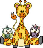 Cute giraffe with couple owls Stock Photography