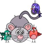 Cute gray mouse with three birds royalty free illustration