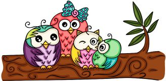 Cute owl family on a branch Stock Images