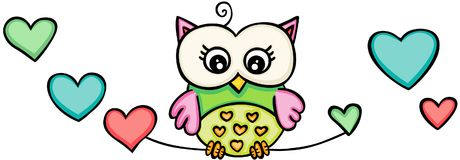 Cute owl girl with hearts. Scalable vectorial representing a owl girl with hearts, illustration isolated on white background vector illustration