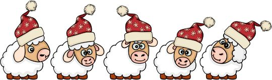Set of five Christmas sheep. Scalable vectorial representing a set of five Christmas sheep, illustration isolated on white background Royalty Free Stock Photography