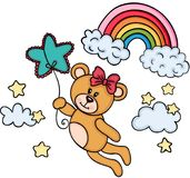 Teddy bear girl flying with star shaped balloon in sky with rainbow Royalty Free Stock Photo