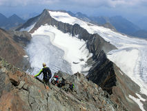 Scalando nelle alpi di Stubai Fotografia Stock Libera da Diritti