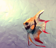 Scalar fish in water 3d render flat surface illustration. Scalar in water 3d render computer graphic illustration in mosaic flat surface style. Wallpaper with vector illustration
