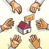 Scalata dei homebuyers di concetto del bene immobile Immagini Stock