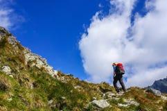 Scalata dell'uomo dell'alpinista Fotografie Stock Libere da Diritti