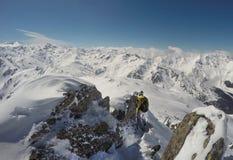 Scalata di montagna nell'inverno, GEN del ¼ di HochfÃ, Austria Immagine Stock
