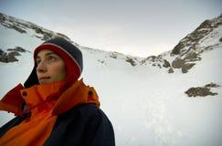 Scalatore con esperienza della montagna Immagini Stock Libere da Diritti