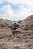 Scalatore di roccia che aderisce ad una scogliera Immagini Stock Libere da Diritti