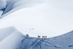 Scalatore in Mont Blanc Fotografia Stock