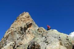 Scalatore sulla cima della montagna Immagine Stock
