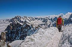 Scalatori in alpi francesi Chamonix Mont Blanc Fotografie Stock Libere da Diritti
