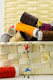 Scalatori miniatura sulle bobine dei fili Fotografia Stock