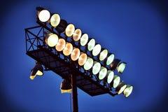 Scaldarsi delle luci dello stadio Fotografia Stock Libera da Diritti
